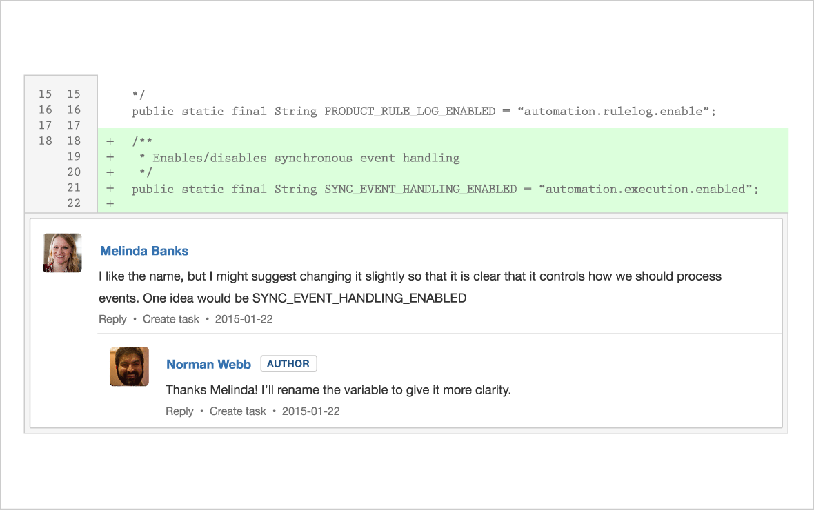 Screenshot showcasing inline diff commenting feature