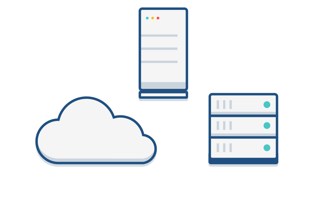 Illustration of server racks and a cloud representing different deployment options
