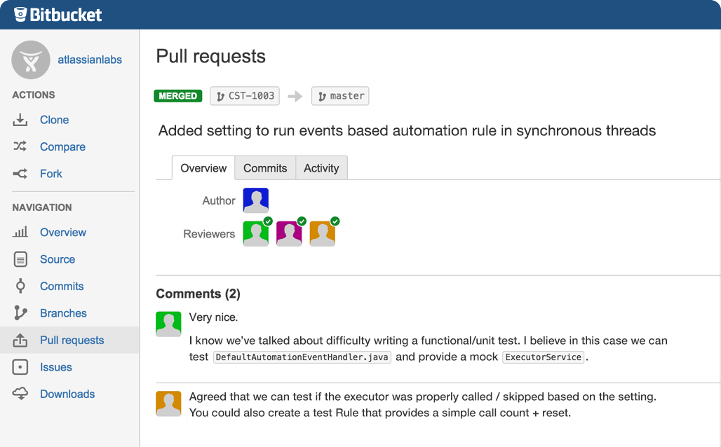 Screenshot showcasing code review features