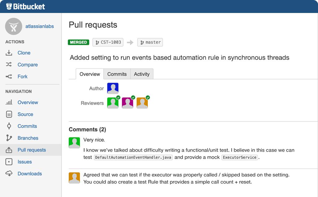 Screenshot showcasing code review features